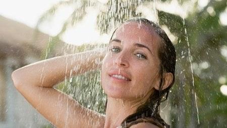 saving water while showering